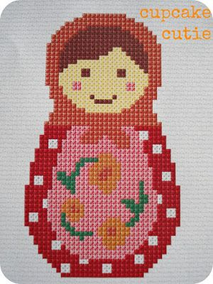 Stacking Dolls Baba Cross Stitch Pattern