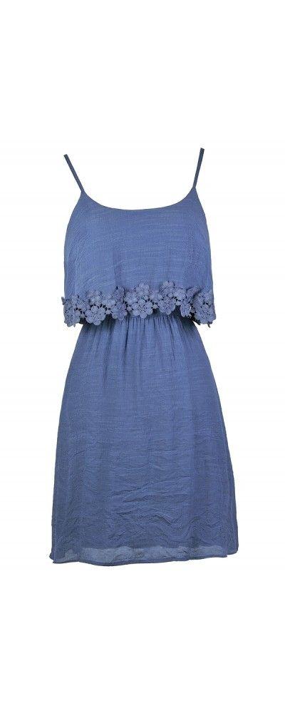 Lily Boutique Crochet Applique Trim Flutter Top Sundress in Dusty Blue, $32 Dusty Blue Dress, Dusty Blue Crochet Lace Dress, Blue Flutter Top Lace Dress, Dusty Blue Sundress, Dusty Blue Summer Dress, Cute Blue Dress www.lilyboutique.com