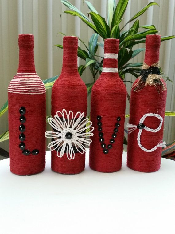 LOVE Twine Wrapped Bottles by LeathelDesignz on Etsy