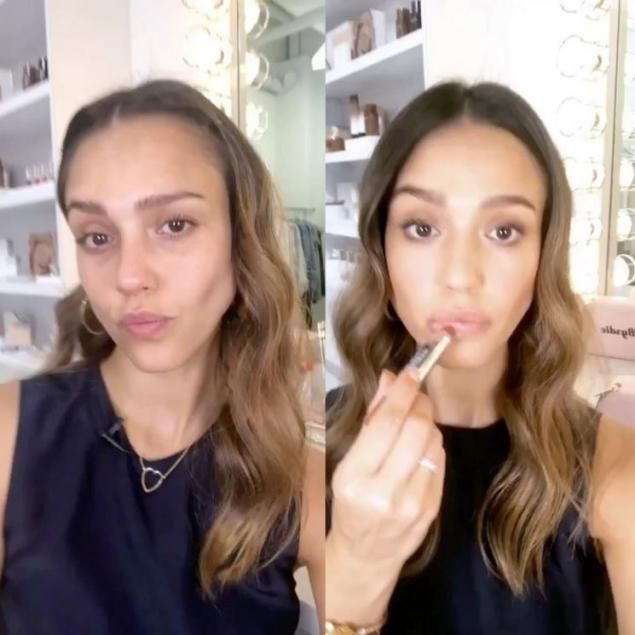 """Her company is called """"Honest Beauty,"""" so it only seems natural for Jessica Alba to reveal her look, before and after makeup. """"My @honest_beauty before and after monochromatic summer look inspired by our Chestnut Kiss which is in @byrdiebeauty limited edition beauty bag! Link in bio for full tutorial! #honestbeauty,"""" the 36-year-old captioned a Boomerang video posted to Instagram."""