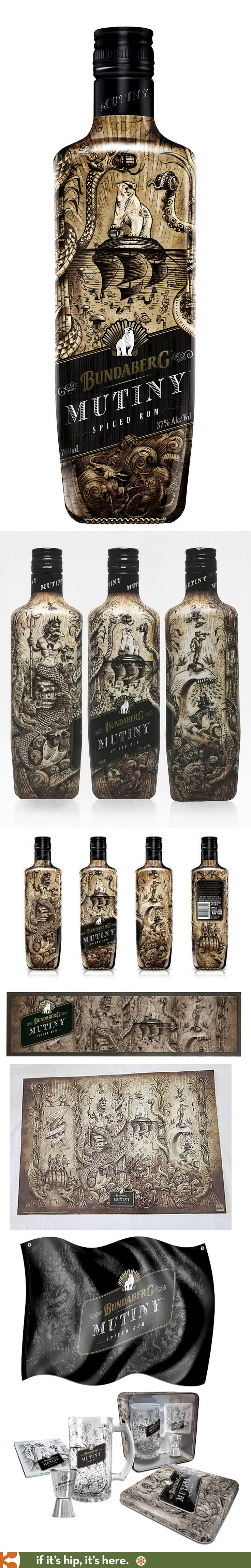 Australia's Bundaberg Mutiny Spiced Rum has a wonderfully illustrated bottle and collateral pieces.