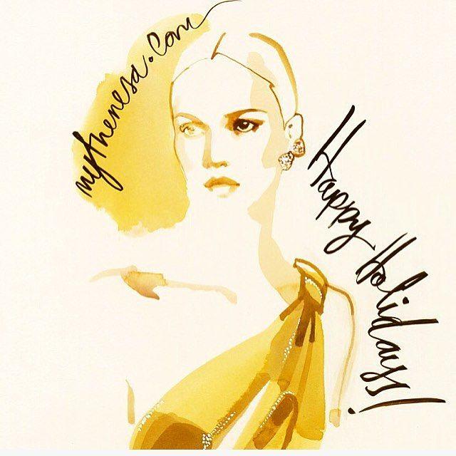 She loves gold! Christmas illustration for @mytheresa.com
