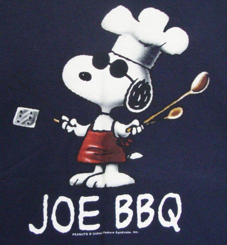 Peanuts Snoopy Joe Cool BBQ T-shirt Large Sunglasses Grillin Chef Hat Blue Mens