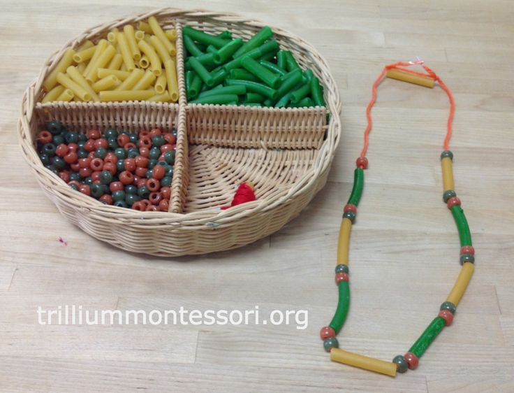 Necklace making with pasta and beads at Trillium Montessori
