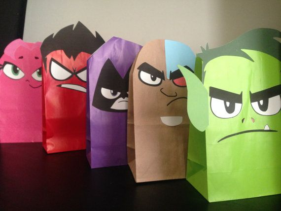 Teen Titans Printables for Gift Sacks Color by ClearlyCandace