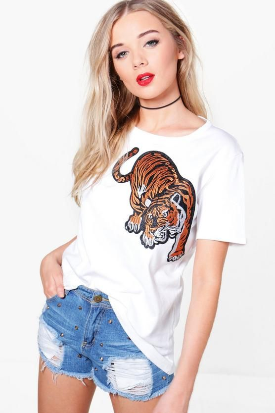 Olivia Tiger Embroidered Oversized T-Shirt £11.20