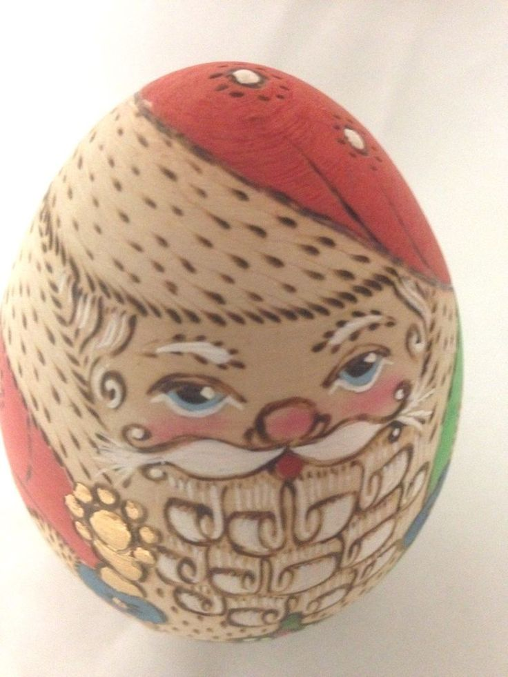 "Wood 4"" Painted Egg Shape Santa Christmas Ornament Figurine"