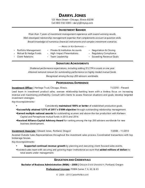 Sample Resume For An Investment Banker Resume Examples Resume Template Portfolio Management