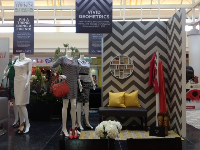 """Is the Vivid Geometrics vignette your fave? Re-pin this onto your """"Southgate and Edmonton Home Show Furniture Contest"""" as part of your contest entry!"""