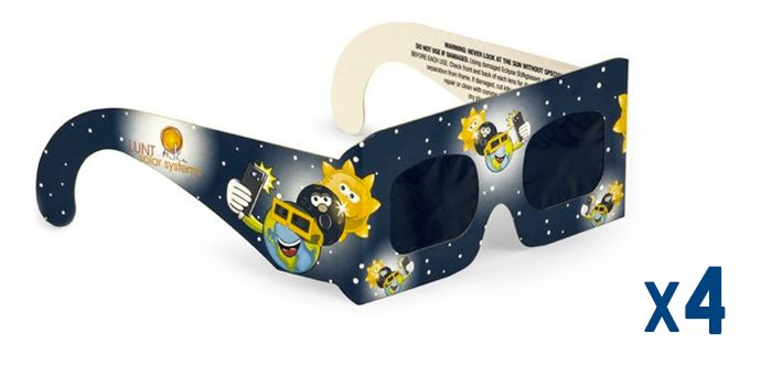 Smaller sized eclipse glasses for little ones ages 7-13 years of age. With adult supervision, these kids eclipse glasses are perfect for budding scientists, astronomers and any child who wants to be a part of the excitement of this rare event.Lunt Solar Eclipse SUNglasses are manufactured in Germany and are 100% safe for direct viewing of the Sun and Solar Eclipses.We are a TSE 17 manufacturer and have been approved by NASA and the American Astronomical Society.Eclipse glasses will be in…