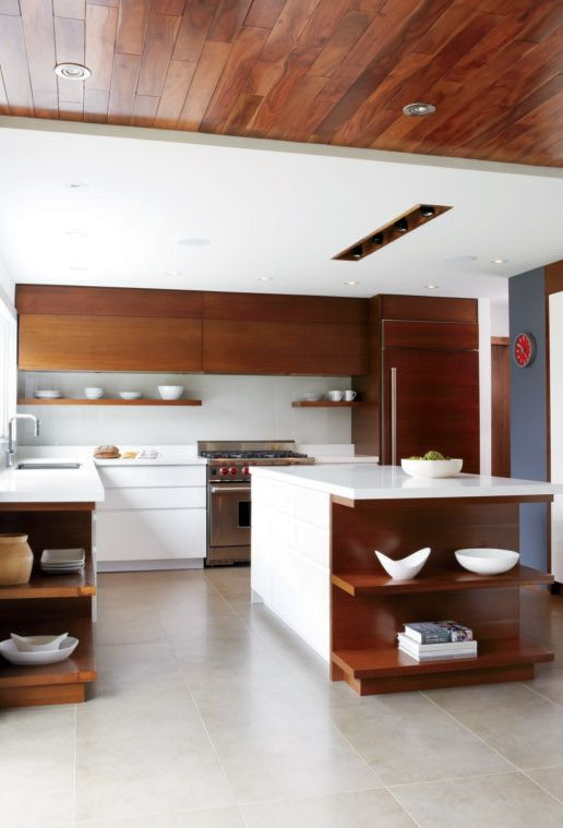 kitchen idea, mixture of white and wood