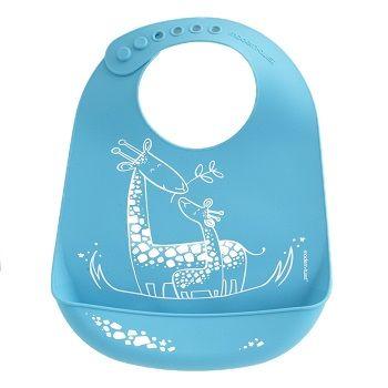 Giraffe Giggles Bib Blue $39.95 #sweetcreations #baby #toddlers #kids #feeding #feedme