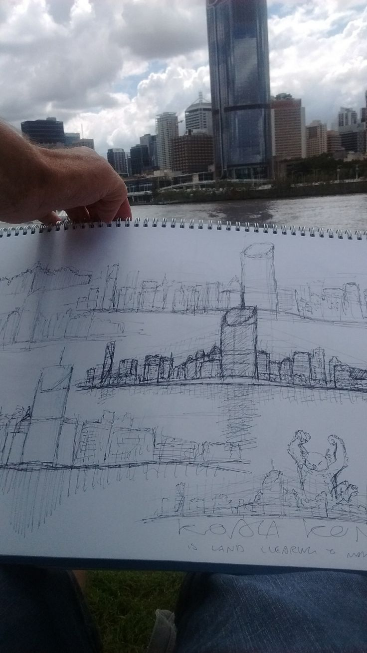 Brisbane Painting & Drawing Meetup Group In April, I organised the Brisbane Painting and Drawing Meetup Group and chose to hold it at Southbank. There's such great views of the city from Southbank and so can really get stuck into drawing a landscape full of skyscrapers or people meandering by.