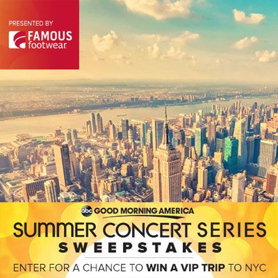 Enter the Good Morning America's Summer Concert Series Sweepstakes to win one of 4 Grand Prizes (4): a 4-day trip for two to New York City to attend a Good Morning America summer concert series performance of the winner's choice between 8/2/13 and 8/30/13 including airfare, hotel, ground transportation, VIP Treatment at the GMA concert,