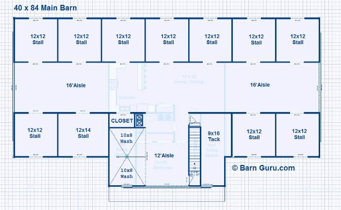 Barns with second floor living quarters joy studio for Horse barn layouts floor plans