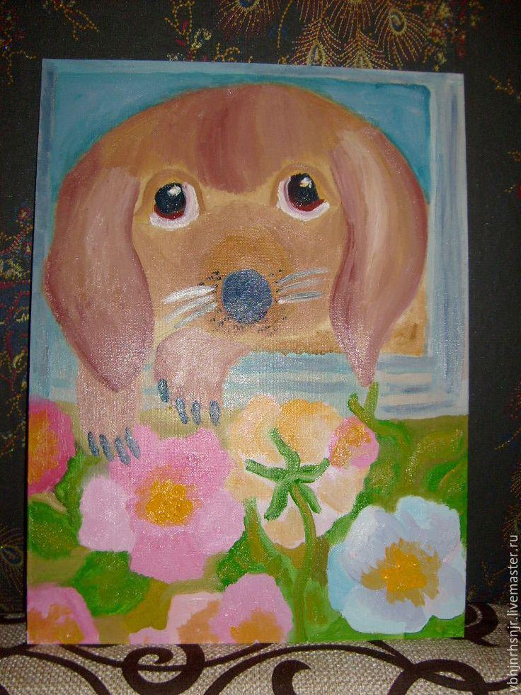"""Купить Картина """"Щенок в цветах"""" собака,масло - картина, картина маслом, подарок"""