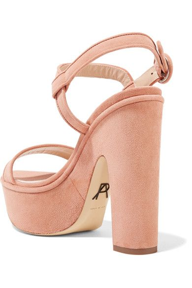 Paul Andrew - Stanton Suede Platform Sandals - Blush - IT38.5