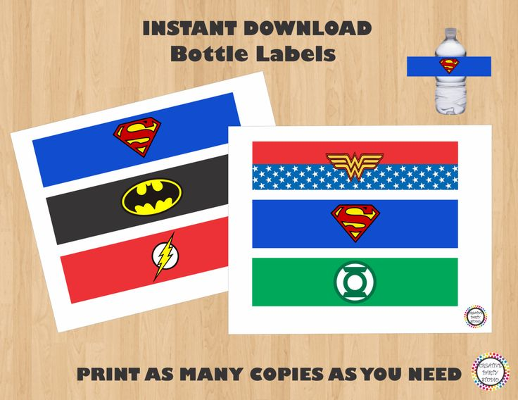 Justice League Birthday Party Water Bottle/ Drink Labels/ Label/ Stickers/ Superhero Favors/ Favor/ Tag/ Tags/ Wrappers/ DC Comics/ Fiesta by CreativePartyStudio on Etsy