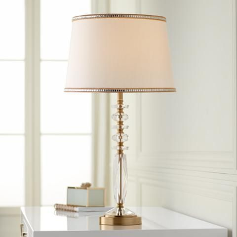 Sherry Crystal Table Lamp With Gray Shade 53x57 Lamps Plus Crystal Table Lamps Room Lamp Table Lamp