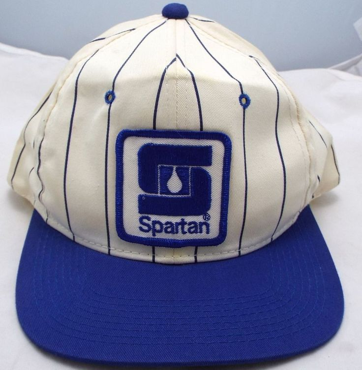 Clean vtg Spartan Chemical Co Snapback YoungAn Blue Striped hat Trucker cap  #youngan #Trucker