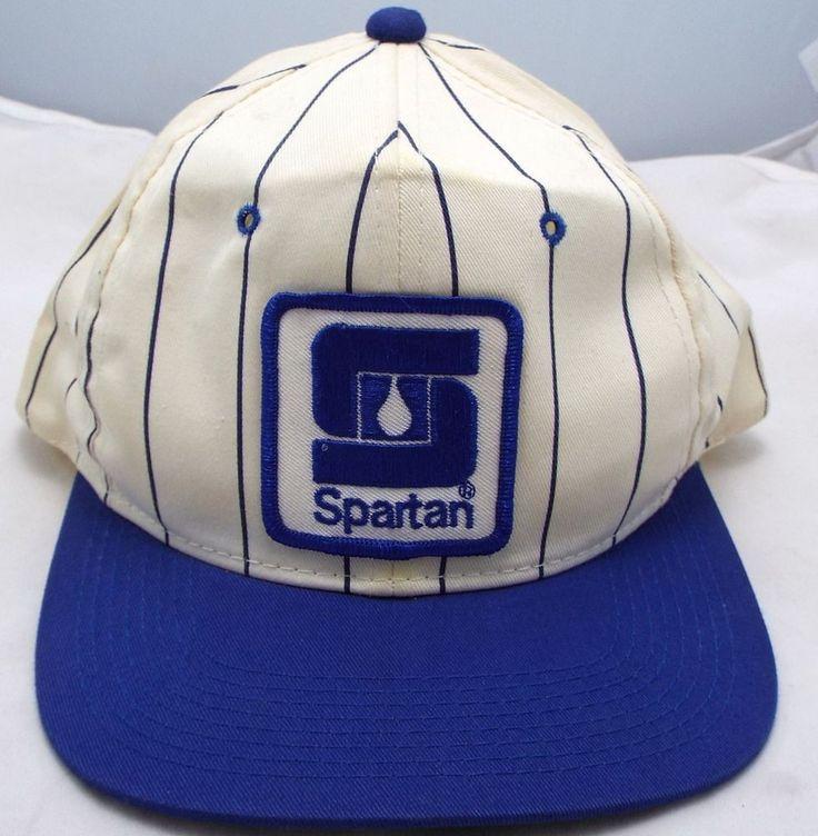Clean vtg Spartan Chemical Co Snapback YoungAn Blue Striped hat Trucker cap  #youngan #Trucker