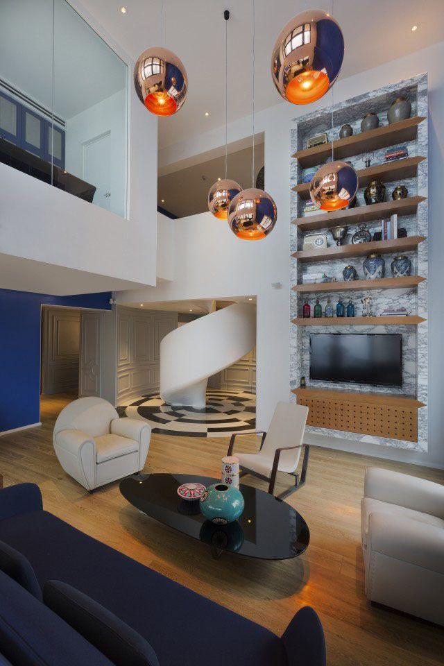 Copper Pendants by Tom Dixon: Interior Design, Living Rooms, Studios Photos, Interiors Design, Dariel Studios, Copper Pendants, Blue Penthouses, Beautiful Living Room, Design Home