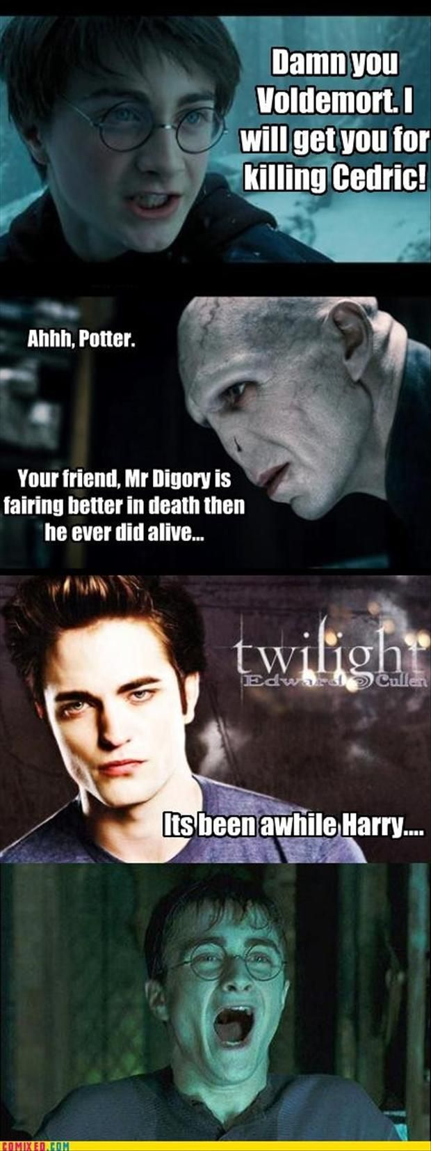 I hate how it always says Voldemort killed Diggory when Peter Pettigrew did<<<True, but this is still hilarious lol