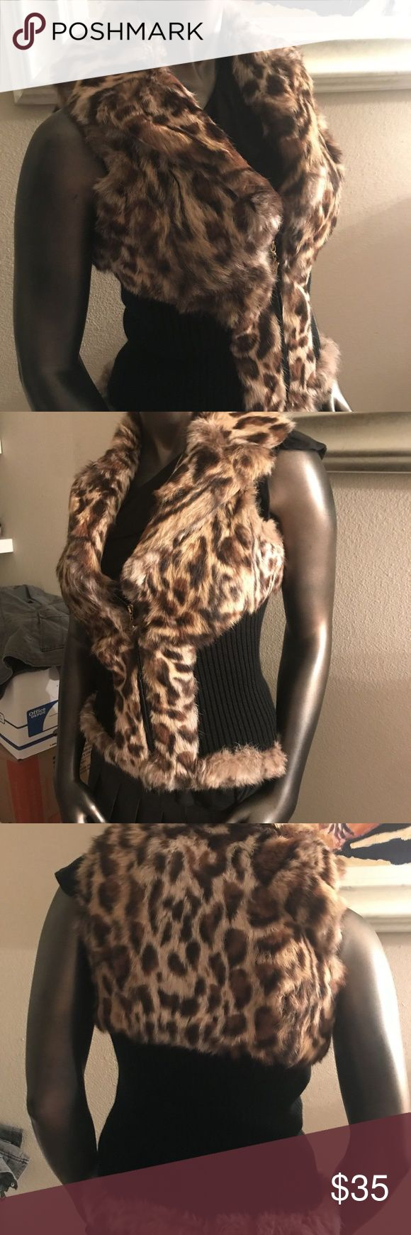 Guess by Marciano Rabbit Fur Leopard Vest Coat Guess by Marciano Real Rabbit Fur West Size Small Zipper Front Worn couple times.  Excellent condition Guess Sweaters Cardigans