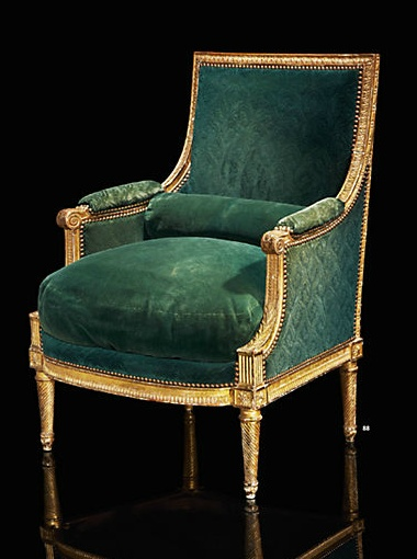 A chair which was used for the service of Madame Elisabeth, sister of Louis XVI, at the apartments of Compiegne.