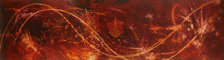 TΑΝΟ.   CELESTIAL SOUNDS JUST BEFORE THE FORMATION OF PRE HUMAN DNA / 2010 / 470cm x 105cm / batik (napthol on primissima fabric)