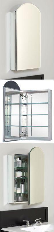 "American Pride MAA1530 15"" x 30"" Aluminum Body Single Door Medicine Cabinet with White Bathroom Storage Medicine Cabinets Single Door"