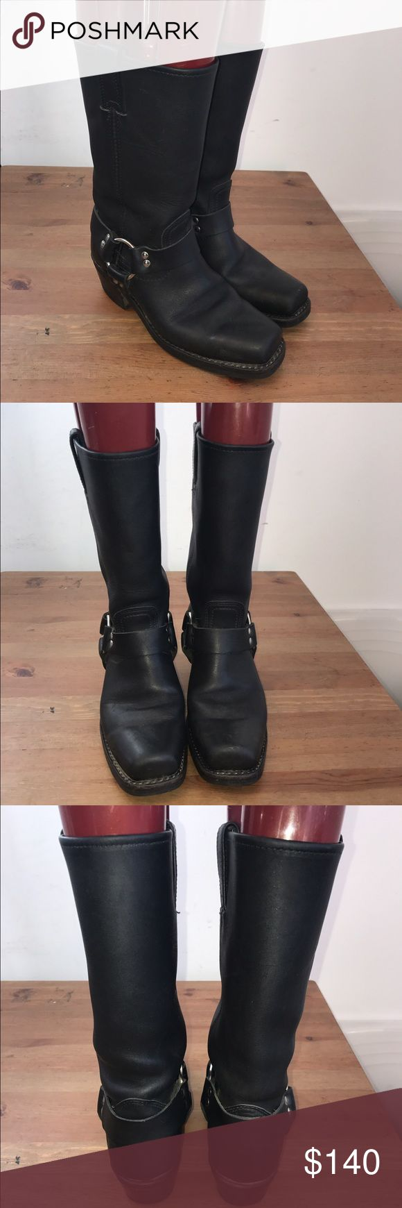Frye Harness Boots Sz:7.5m These shoes are in excellent condition. Guaranteed authentic item. And a must have item! We are unable to model items or take sales to PP. No box or dust bags. Willing to negotiate. Frye Shoes Winter & Rain Boots