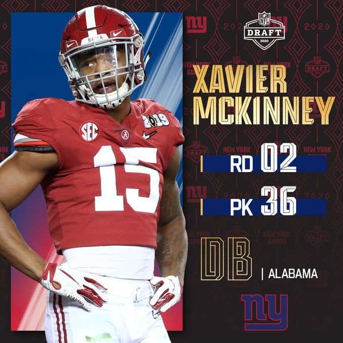 With The No 36 Pick The Giants Select Alabamaftbl Db Xavier Mckinney In 2020 Nfl Iowa State Cyclones Football New York Giants