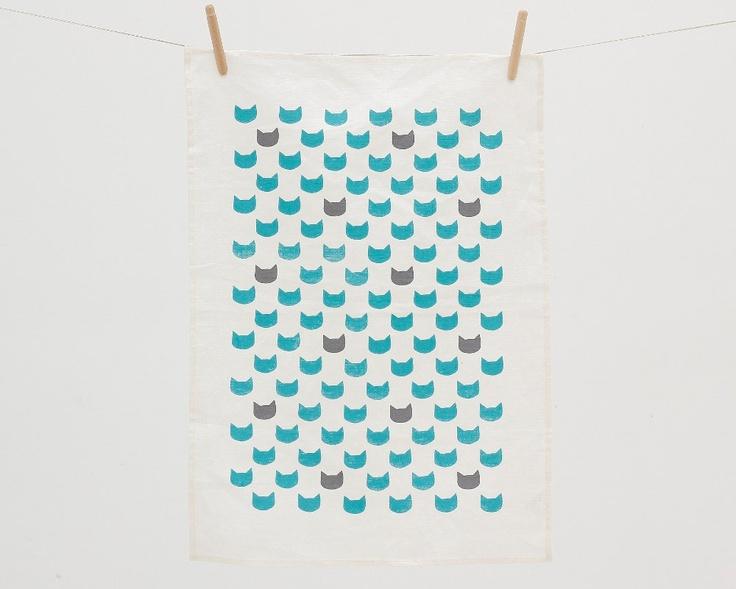 Aqua cats grey tea towel - screen printed linen. $19.00, via Etsy.
