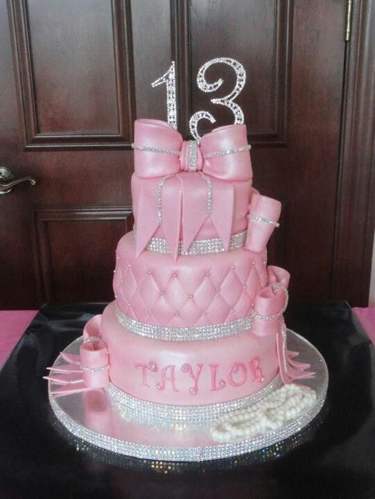 Pink Bling Rhinestone Fondant Birthday Cake Happy