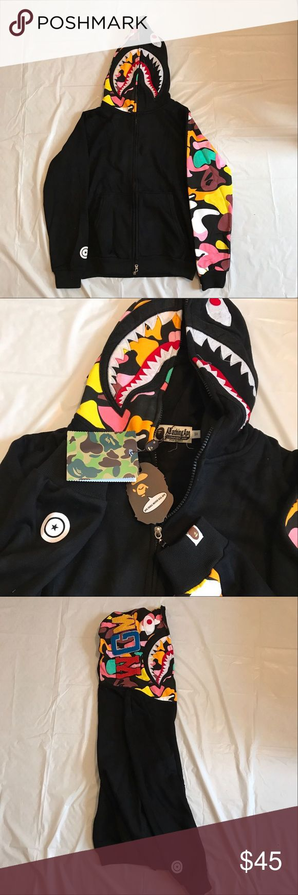 Bape hoodie full zip men size M-L Brand new come with tag and bag. Size available:M-L EYES:Fit little smaller,recommend order one size bigger. Ship by usps the same busness day if u order before 12:00pm. Jackets & Coats Lightweight & Shirt Jackets
