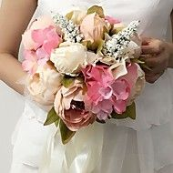 """Wedding+Flowers+Round+Peonies+Bouquets+Wedding+Party/+Evening+Satin+9.84""""(Approx.25cm)+–+USD+$+45.98"""