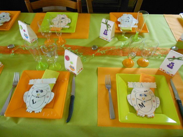 D co table anniversaire 1 an th me chouette par p 39 t oeuf - Table d anniversaire 1 an ...