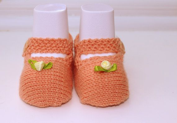 Peach Baby Shoes Baby Mary Janes Pastel Booties New by Pinknitting