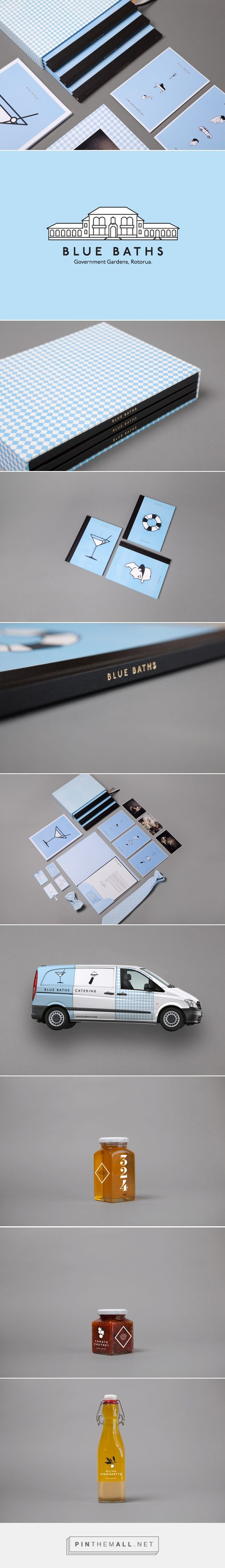 Blue Baths identity packaging branding on Behance by Ryan Romanes curated by Packaging Diva PD. Blue Baths is a heritage listed bathhouse located in Rotorua's Government Gardens.