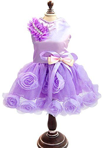SMALLLEE_LUCKY_STORE Pet Small Dog Puppy Cat Clothes Coat Wedding Costume Satin Rose Formal Dress Tutu Purple Violet XL >>> Continue to the product at the image link.