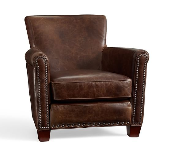 could do 2 chairs. Irving Leather Recliner with Nailheads | Pottery Barn