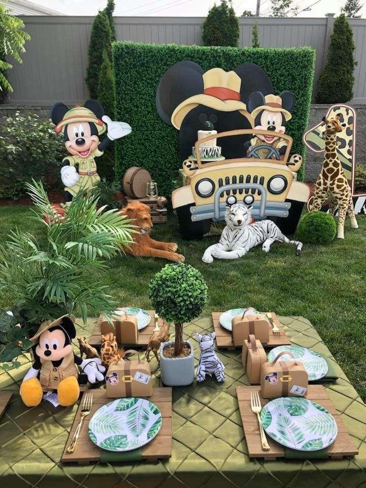 Set of 3 Safari Birthday Mickey Safari Centerpieces Set of 3 Mickey Birthday DOUBLE-SIDED Jungle Birthday Safari Centerpieces