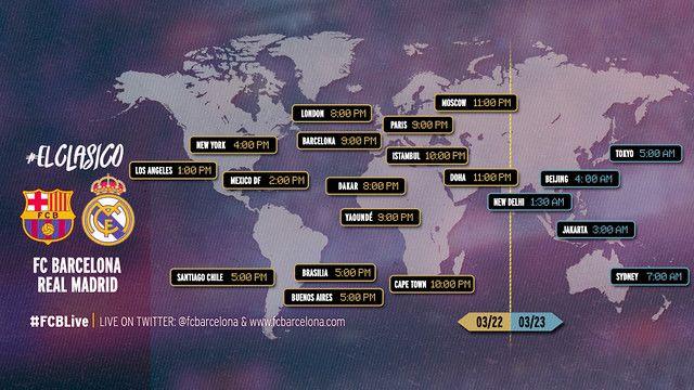 FC Barcelona - Real Madrid, Dónde y cuándo se puede ver el Clásico de Liga el FC Barcelona y el Real Madrid  WWW.FCBARCELONA.CAT    20/03/201517:00  Te ofrecemos una guía con los horarios y las televisiones en las que podrás seguir, en todo el mundo, el partido del domingo de los blaugranas  Tweeten Twitter (abre nueva pestaña en el navegador)CompartirFC Barcelona en Facebook (abre nueva pestaña en el navegador)+1en Google plus (abre nueva pestaña en el navegador)Pinterest(abre…