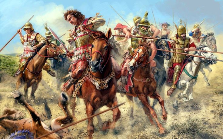 Alexander the Great leading the Macedonian charge at the Battle of Granicus