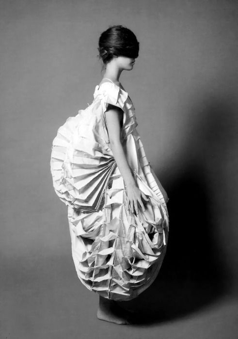 Sculptural Fashion - dress form with 3d patterned construct; wearable fashion sculpture; fabric manipulation by patsy