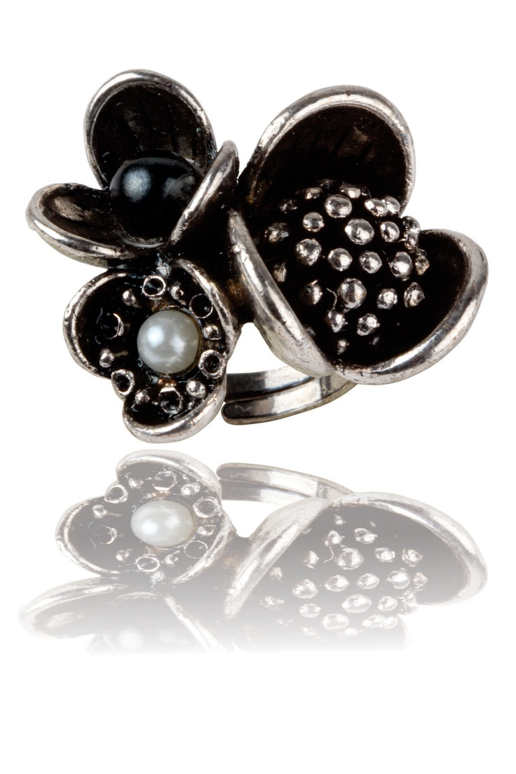Floral Extravagenza -  Mix of Various Flower Shapes, Intricate Metal Flower Detailing, Pearl Infused Center,  Adjustable & Easy To Wear, Sits Comfortably Around the Finger. - Rs. 499.00