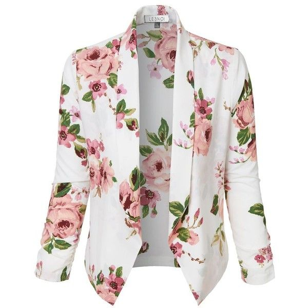 LE3NO Womens Ultra Lightweight Floral 3/4 Sleeve Open Front Cardigan... ($20) ❤ liked on Polyvore featuring outerwear, jackets, blazers, tops, floral-print blazers, 3/4 sleeve jacket, open drape cardigan, lightweight jackets and flower print blazer