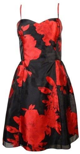 Jessica Simpson Women's Floral Print Sweetheart Flare Dress (10, Black/Tango Multi)