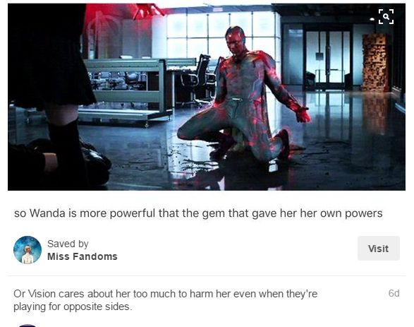 WANDA'S POWERS WERE FROM THE TESSERACT YOU IDIOTS STOP MAKING EVERY COOL THING A ROMANTIC THING